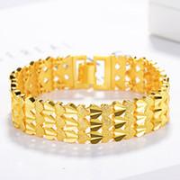 3- fila braccialetto di collegamento del cuore Catena oro giallo 18k riempito donne di modo Mens largo bracciale in regalo spessi 16mm larghi Accessori