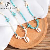 2020 Trendy Starfish Shell-Anhänger-Halskette Grün Weiß Natur-Stein-Ketten-Halskette-Kragen Sexy einfache Entwurfs-Schmucksachen für Frauen-y
