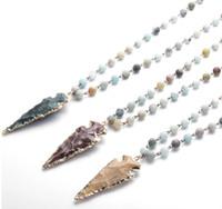 Colar arrowhead Moda Amazonita Pedras Rosário Cadeia Arrowhead Colar Pingente Artesanal Mulheres Natural Stone Bead Neck