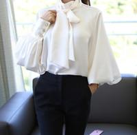 Mulheres Blusas Camisas Pura Branco Laço Laço Blusa Chiffon Mulheres Escritório Camisa Lanterna Manga Blusas Femininas Formal Senhoras Tops