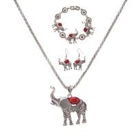 Европейские и американские преувеличенные ювелирные изделия Posimiasson слон ожерелье браслет серьги из трех частей набор оптом