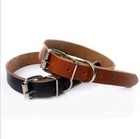 Colares de cão real do couro do couro Hot venda cão cadeia de tracção corda cão Acessórios 2 cores 4 tamanhos Atacado envio gratuito de LXL230-A