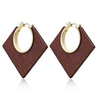 Popular Ethnic Geometric Big Wooden Earrings For Women Vinta...