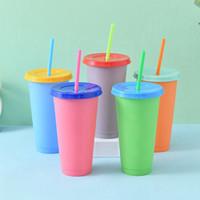 El cambio de temperatura de bebida Copas color mágico del color del caramelo vasos con tapas y pajas botella de agua del café Copa Cerveza 5 Color HHA1361-2
