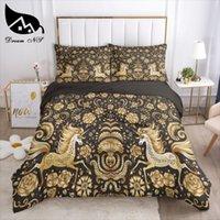 مجموعات الفراش دريم NS ماندالا البوهيمي اليد الطلاء مجموعة البرونز الفن الأسود الذهب المنسوجات المنزلية أغطية السرير حاف