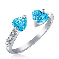 Double gros- diamant de coeur ouvert de la mode des femmes Anneaux Taille libre Zircon femmes Bagues cadeaux de mariage de Noël