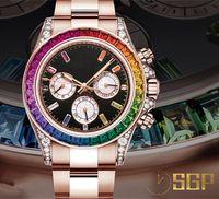 Fábrica Rose Gold Tabela de Luxo 116595 Rainbow Division 7750 Relógio Mecânico Automático, Caso, Faixa de Relógios Usando 316L Aço Refinado Designe