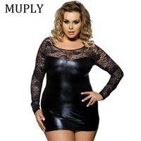 Лето сексуальные женщины искусственная кожа платье Muply с длинным рукавом Bodycon Midi офисное платье черный сексуальный клуб ночная рубашка плюс размер 6xl Y19070402