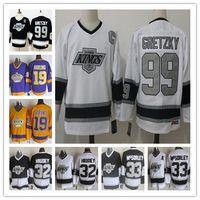 Vintage Wayne Gretzky Maillot de hockey des Kings de Los Angeles CCM Marty McSorley Un patch 32 Kelly Hrudey 19 Butch Goring Maillots LA KINGS cousus