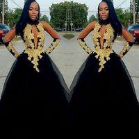 Сексуальные африканские платья выпускного вечера с высоким вырезом и золотыми кружевными аппликациями Вечернее платье с русалкой 2K19 Тюль вечернее платье vestidos