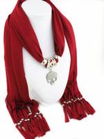 Crâne de pendentif en alliage de diamant polyester frangé pendentif écharpe dames mode bijoux sauvages écharpes de collier de couleur unie