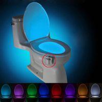BRELONG Aseo noche la luz de la lámpara LED inteligente Baño de movimiento humano activado PIR 8 colores RGB automática de luz de fondo de la taza del inodoro Luces