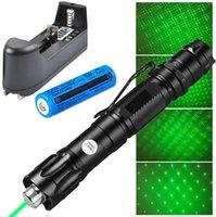 Super Faixa Clipe de Cinto Padrão laser verde poderosa Pen Pointer 2em1 Estrela 1mw 532nm Cat Toy 009 Green Laser Pen + 18650 Battery Charger +