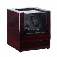Laca de madera Piano Negro brillante de fibra de carbono doble Watch Winder caja Quiet vitrina de almacenamiento Motor ENCHUFE de los EEUU del reloj de la coctelera