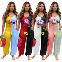 النساء أكمام تصميم بذلة rainbow الشفاه نمط الصيف قطعة واحدة ارتداءها السيدات السروال القصير عارضة المرقعة فضفاض السراويل السراويل D5603