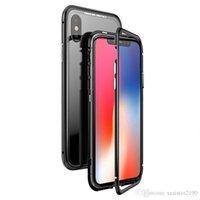 Magnetische Adsorptionsfälle für iPhone x 7 8 PLUS Luxus-Back-Cover-Kasten XS XR XSMAX-Magnet-gehärtetes Glas
