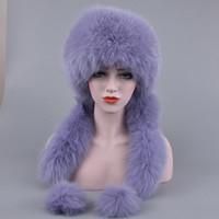 Cappello di pelliccia di inverno delle donne Cappello genuino di pelliccia di volpe con 2 pompons intera coda di volpe inverno russo esterno caldo tappi femminili mongoli caldi