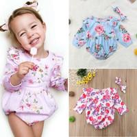Roupa recém-nascido Bebés Meninas Unicórnio Flor Romper longas roupas de manga One-peças sunsuit cloting Jumpsuit 2pcs Outfit 0-24M