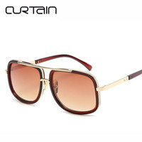 CURTAIN 2019 New Fashion Big Frame Sunglasses Men Square Fas...