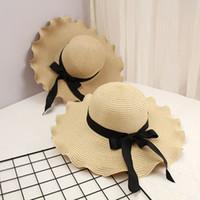 Moda Bow Nó Mulheres Chapéu De Palha Verão Ao Ar Livre Sun Proteção Chapéus Personalidade Chapéus de Brim com Fita