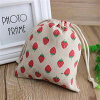 اليدوية القطن الكتان الحقيبة الرباط حقيبة هدية حقائب مجوهرات حقائب الفراولة الحمراء