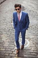 Kraliyet Mavi Düğün Smokin Slim Fit Erkekler Için Iki Düğme Damat Erkekler Suit Üç Parça Ceket Yelek Ve Pantolon Balo Resmi Suits