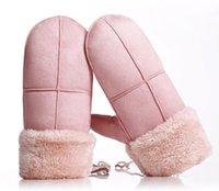 Gants d'hiver de mode-dames hiver femme dentelle chaud cachemire trois côtes mignon lapin mitaines double épaisseur gants de poignet en peluche GA571