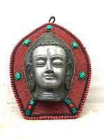Бронзовый Будда Шакьямуни голова коралловый бирюзовый боковой кулон удачи