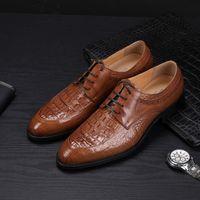 Мужская кожаная обувь для обуви Бизнес-платье обувь крокодил узор кожаная обувь кожаная свадьба