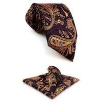 F10 Multicolor Paisley Men's Accessories Necktie Hanky Set Designer Party Extra long size