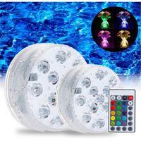 بركة الاكسسوارات LED أضواء تحت الماء السباحة التحكم عن بعد بطارية تشغيل ليلة في الهواء الطلق حزب الديكور ضوء للماء