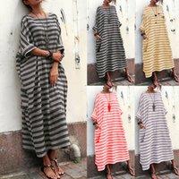 de las nuevas mujeres camisa a rayas de manga larga de algodón de gran tamaño holgado vestido largo maxi