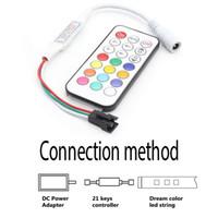 Commercio all'ingrosso Telecomando di controllo della luminosità 5-24V 21 Key RGB RF per colore di sogno WS2812 WS2812BLED luce di strisce
