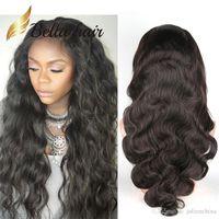 Pelucas para el cabello para las mujeres negras Body Body Wave Encantador encaje ondulado peruano Virgen Bellahair