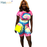 HAOYUAN Tie Dye Two Piece Set Short Sleeve Top and Biker Sho...