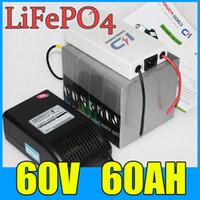 60 V 60AH LiFePO4 Pil Paketi, 3000 W Elektrikli bisiklet Scooter lityum pil + BMS + Şarj, Ücretsiz Kargo