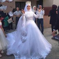 Abiti Con sposa modesto musulmana maniche lunghe con collo alto rilievo arabi vestiti nuziali da vestido de Noiva