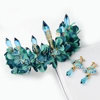 grön tyg blomma lång icicle queen crown tiara bröllop hår accessores Grininalda de noiva para cabelo