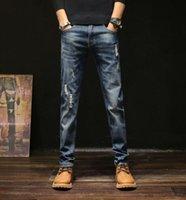 İlkbahar / Yaz 2020 Yeni Düz Jeans İnce Delik Denim Pantolon Erkek Trend Moda Erkek İş Casual Pantolon