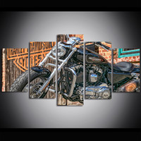 5 Piece Large Size Canvas Wall Art Harley Davidson Art Motor...