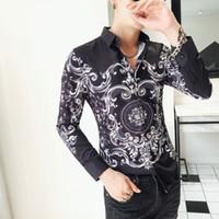 Барокко рубашки Мужчины Paisley печати Slim Fit Shirt Мужчины осень с длинным рукавом Сорочка Homme Манш Longue Цветочные рубашки