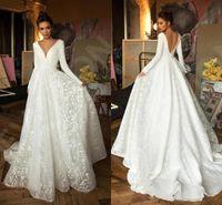 Robe de mariee largo vestido de la manga 2020 de lujo de encaje de la mancha con cuello en V princesa Iglesia Novia del jardín de vestido de novia informal