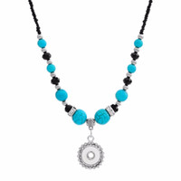 Fashion-National Style Turquoises Beads Snap Necklace 55cm Fit Diy 12mm 18mm Snap Buttons Wholesale Christmas Gift