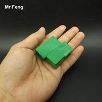 Verde 100 pezzi 2 cm Albero Cube di legno Gioco Gadget Rompicapo Comuni Senso Educazione Giocattoli per bambini (Numero modello B280)
