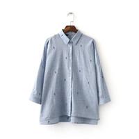 Белла Философия нового лето женщины кактуса вышивка хлопок белье блузка с длинным рукавом негабаритной свободной рубашкой блузки