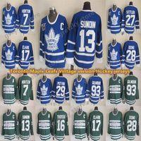 Toronto Maple Leafs Vintage Hóquei Jersey 13 Sundin 17 Clark 93 Gilm0ur 7 Horton 27 Sittler 16 Tucker 28 Domi CCM Jerseys