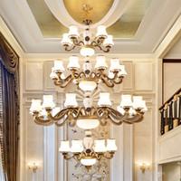 alaşım avizeler villa otel lobisinde merdiven ışığa çinko Avrupa tarzı lüks büyük uzun kolye lamba altın kolye avize aydınlatma led