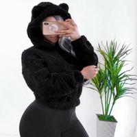 여성 겨울 캐주얼 무성한 곰 귀 후드 양털 모피 재킷 따뜻한 아우터 코트 무성한 곰 귀 후드 양털 모피 외투