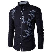 Homens Casuais Camisas Moda Dragão Impresso Homens Slim Fit Dress Camisa Manga Longa Surgindo-Down Collar Primavera