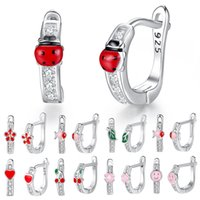 Christmas Gift 925 Silver Sterling Red Enamel Crystal Stud E...